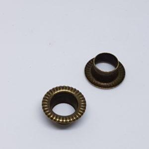 grawerowane oczka metalowe 6mm stare złoto